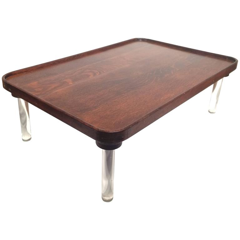 Tiger Oak Coffee Table With Glass Legs Coastal Maine 1945 For Sale At 1stdibs
