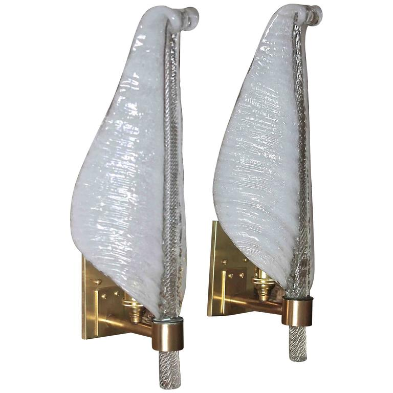 Italian Glass Wall Sconces : Pair of Barovier Italian Glass Leaf Wall Sconces For Sale at 1stdibs