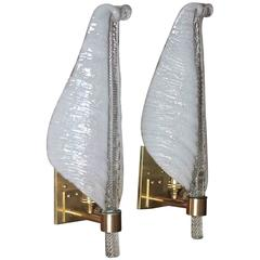 Pair of Barovier Italian Glass Leaf Wall Sconces