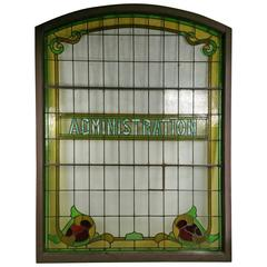 "Monumental Architectural Antique Stained Glass Window, ""Administration"""