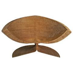 "Rare Danny Ho Fong Wicker ""Lotus"" Lounge Chair, 1960s"