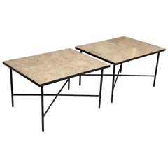 Pair of Large Marble and Iron Tables, circa 1960