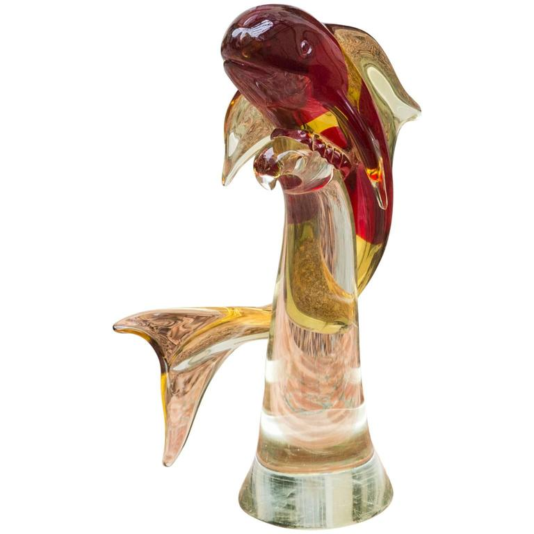 Murano Art Glass Dolphin Sculpture For Sale