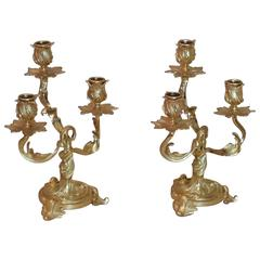 Pair of 19th C. French Ormolu 3 Branch Rococo Candelabras