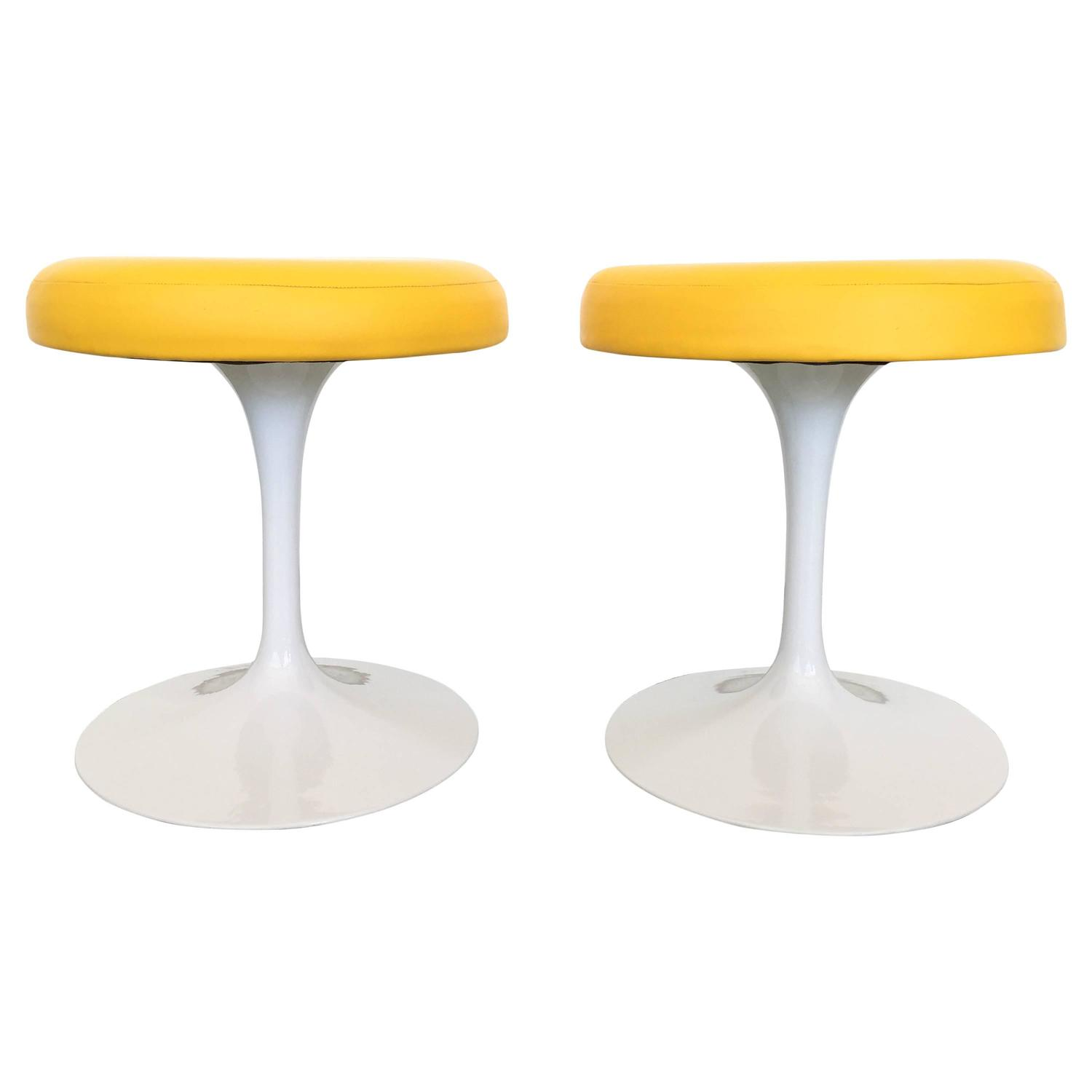 saarinen for knoll yellow tulip stools at 1stdibs
