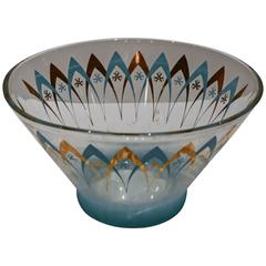Midcentury Glass Punch Bowl with Curved Metallic Motif