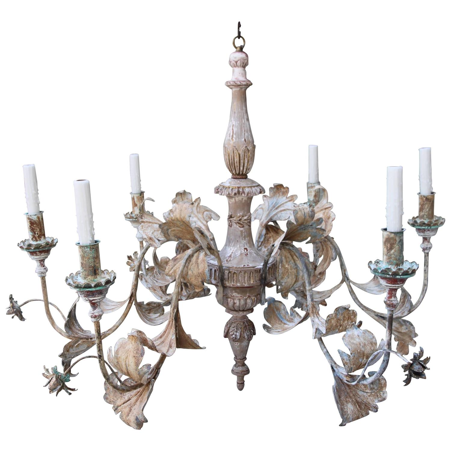 Wood and iron six light tivoli chandelier by minton for Wood pendant chandelier