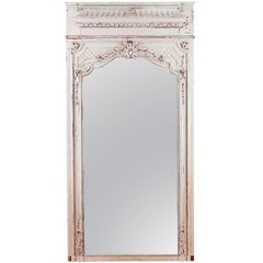 French Trumeau Mirror in Carved and Painted Wood, circa 1880