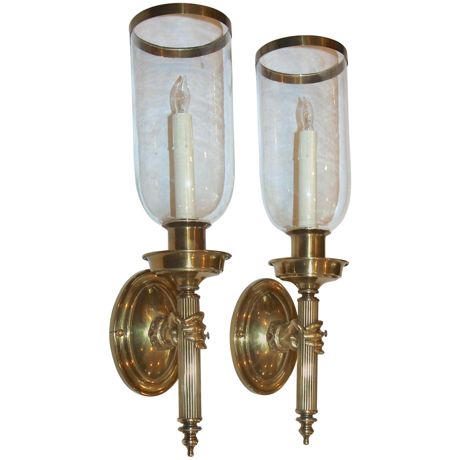 Large Bronze Wall Sconces : Large Hand Torch Bronze Wall Sconces For Sale at 1stdibs