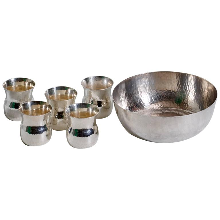 Eric Löfman Sterling Silver Cups with Inset Bowl, Punch or Cocktail Service For Sale