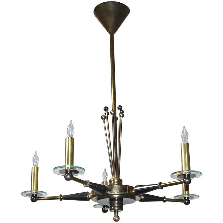 Maison Jansen Brass and Black Lacquered Chandelier
