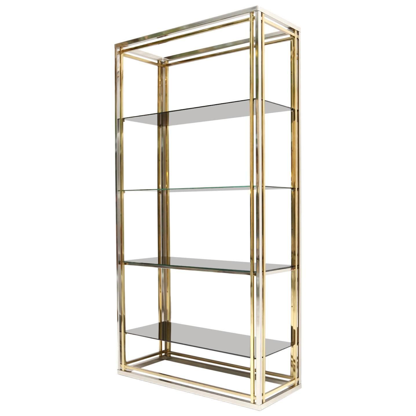 brass and chrome etagere at 1stdibs. Black Bedroom Furniture Sets. Home Design Ideas