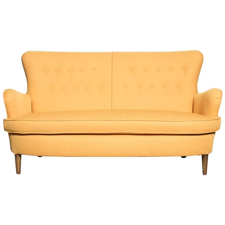 Theo Ruth Style Wingback Loveseat in Sunshine Yellow