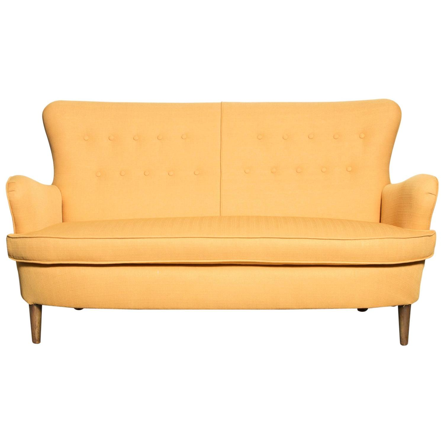 Theo Ruth Style Wingback Loveseat In Sunshine Yellow For