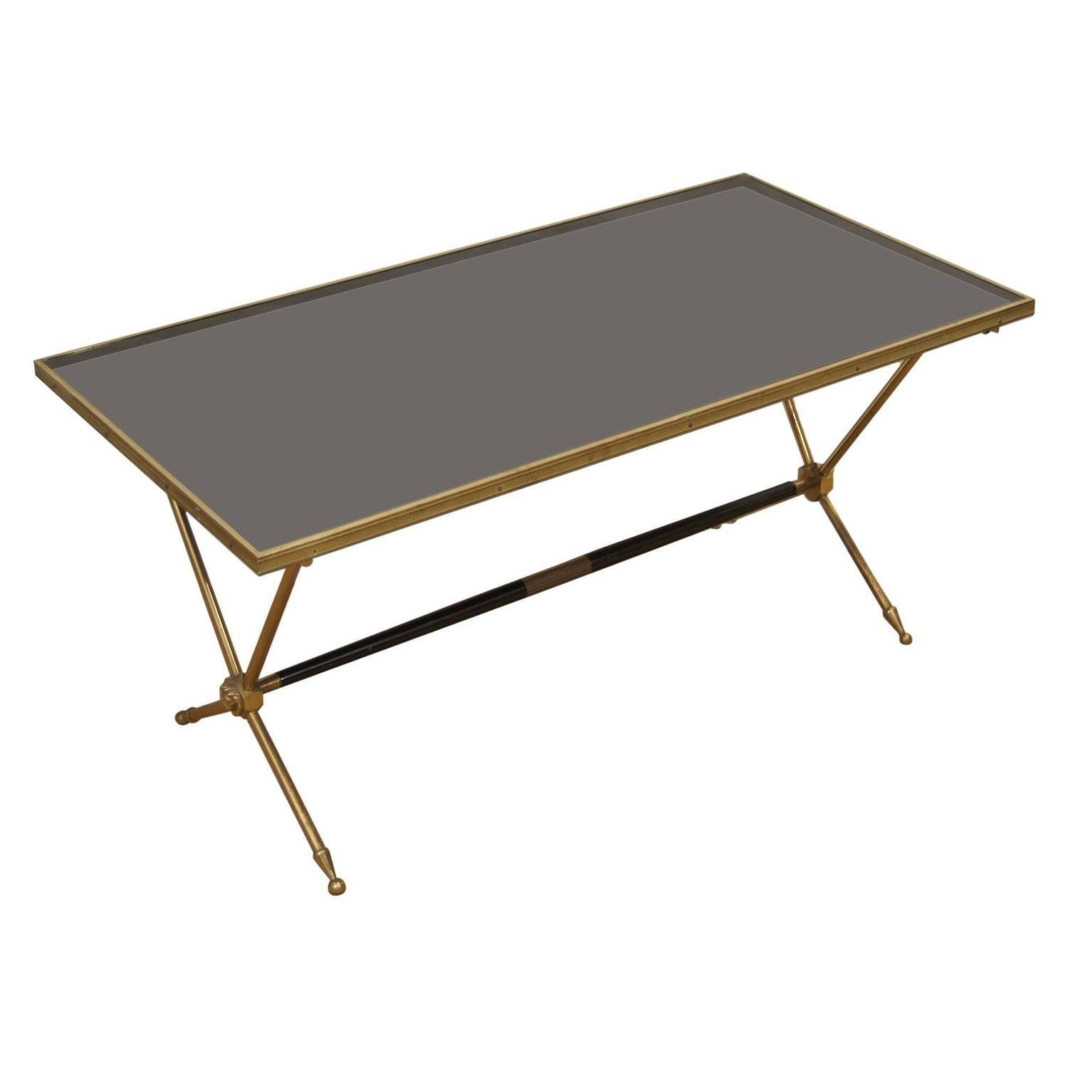 Bagues Style Black Glass And Brass Coffee Table At 1stdibs