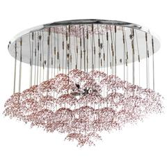Mazzega Pink Flower Textured Murano Glass Hanging Pendant Chandelier