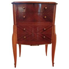 French Art Deco Walnut Commode W/ Bronze Hardware, Circa 1935, After Leleu