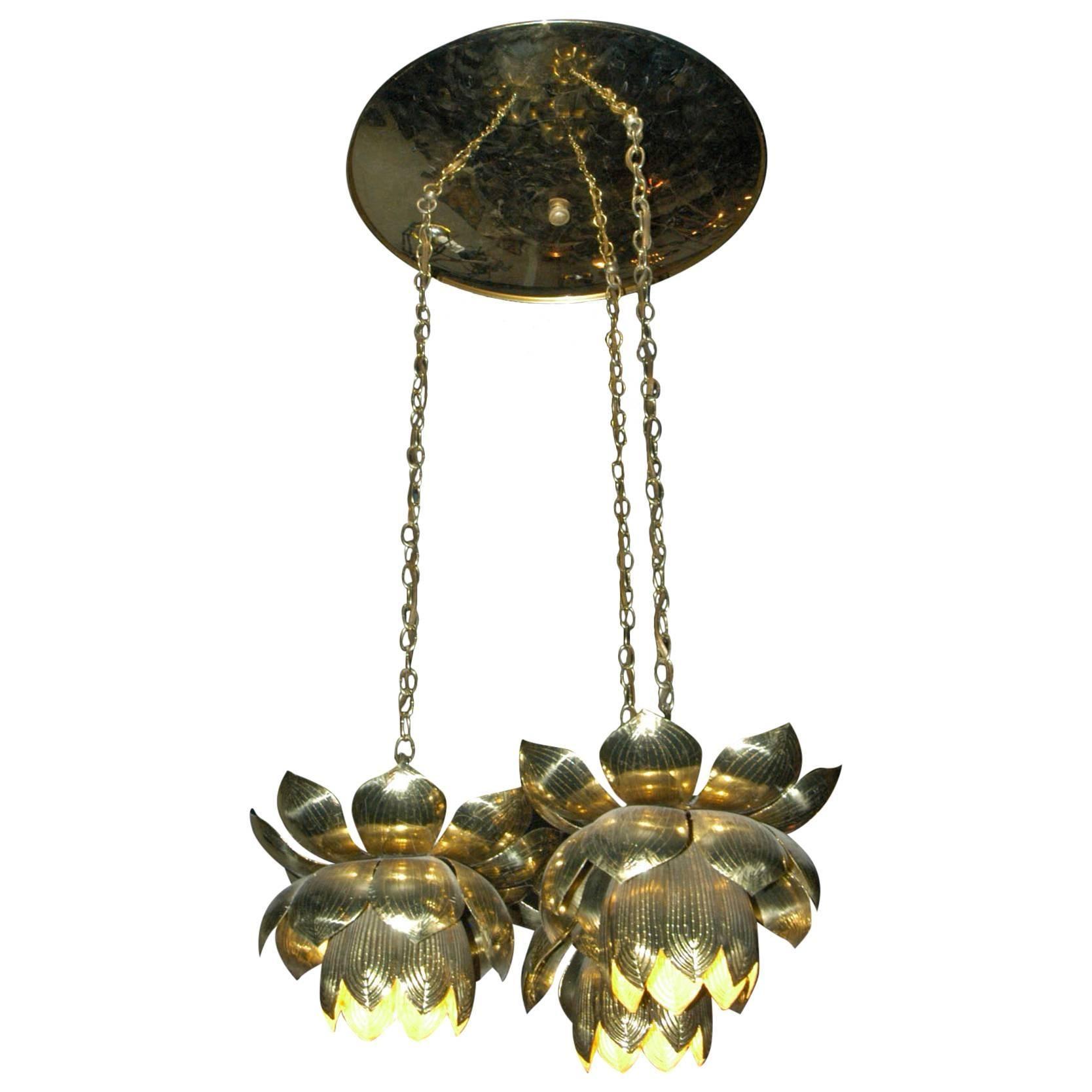 Feldman Lighting Co. Mid-Century Lotus Pendant Chandelier