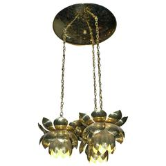 Feldman Lighting Co. Mid-Century Lotus Pendant Chandelier