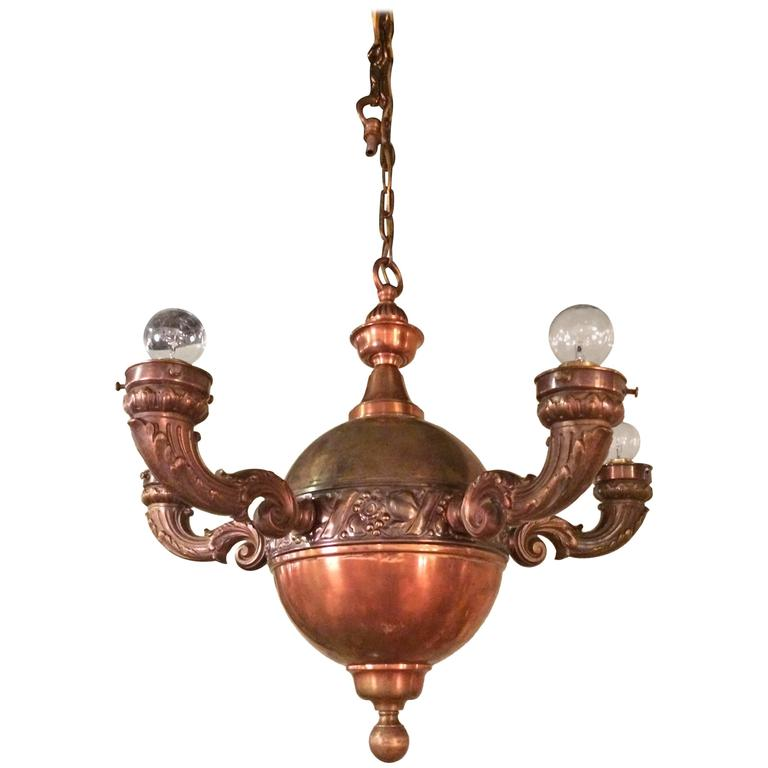 Arts And Crafts Brass And Copper Pendant Chandelier For