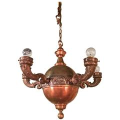 Arts & Crafts Brass and Copper Pendant Chandelier