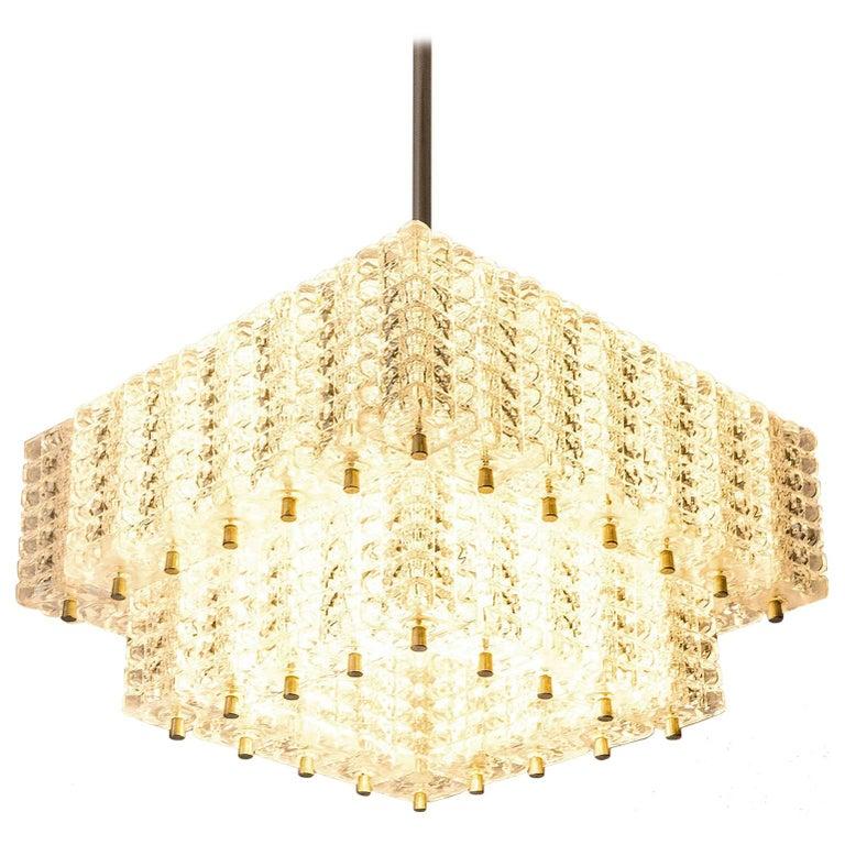 Chandelier Pendant Light by Austrolux, Glass Chrome, Vienna, 1960s For Sale