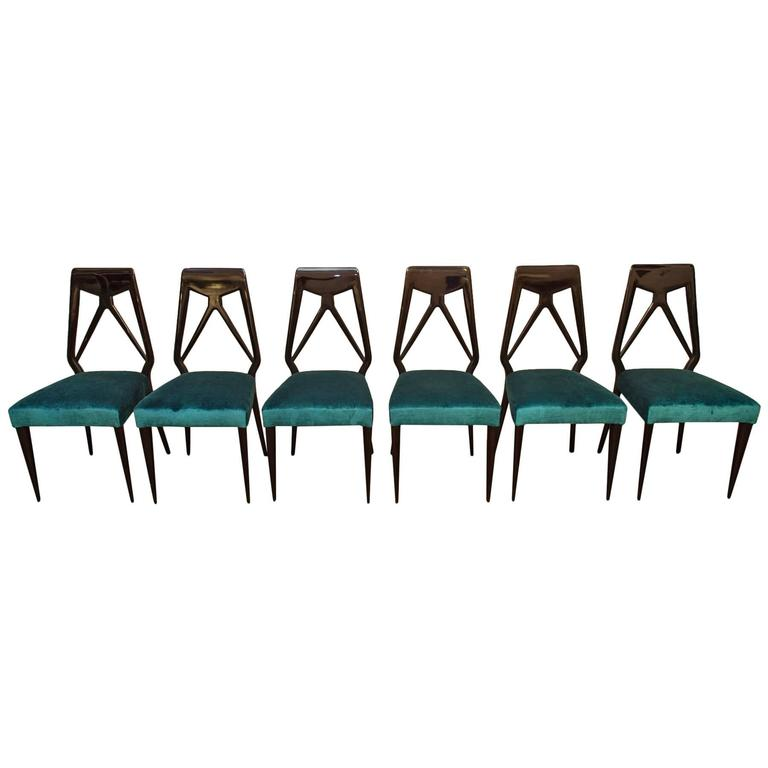 Set of Six Vittorio Dassi Chairs, Italy, circa 1950 For Sale