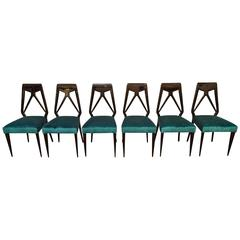 Set of Six Vittorio Dassi Chairs, Italy, circa 1950
