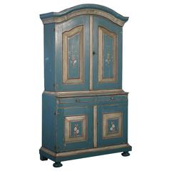 Antique Blue Painted Swedish Cabinet, Dated 1792