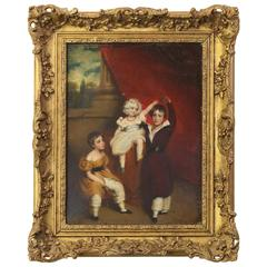 Early 19th Century Oil on Canvas Portrait of Children