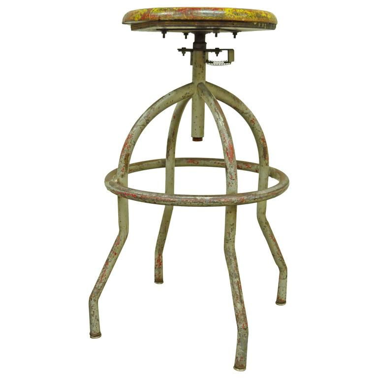 Vintage Adjustable Wood U0026 Metal Work Stool Artist Painters Drafting Swivel  Chair 1