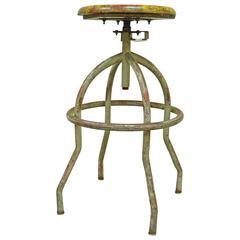 Vintage Adjustable Wood & Metal Work Stool Artist Painters Drafting Swivel Chair