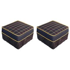 Large Upholstered Ottomans, Navy Plaid