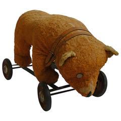 Early 20th Century Americana Folk Art Bear on Wheels Child's Toy