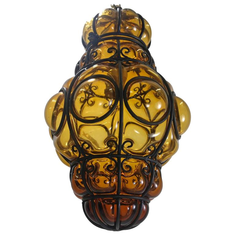 Caged Handblown Murano Glass Pendant Lantern At 1stdibs