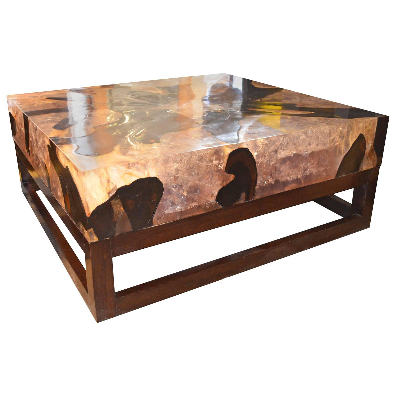 Andrianna Shamaris Cracked Resin Coffee Table For Sale at 1stdibs