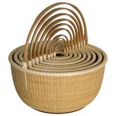 Nest of Nine Nantucket Lightship Baskets