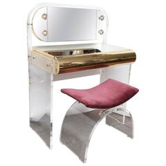 Modernist Lucite and Mirrored Vanity and Stool