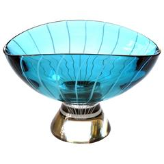 Large-Scale Murano 1960s Teal Art Glass Bowl with White Swirl Decoration