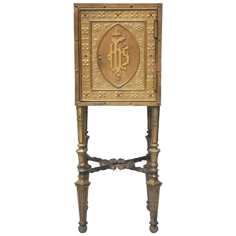19th Century Bronze Tabernacle End Table