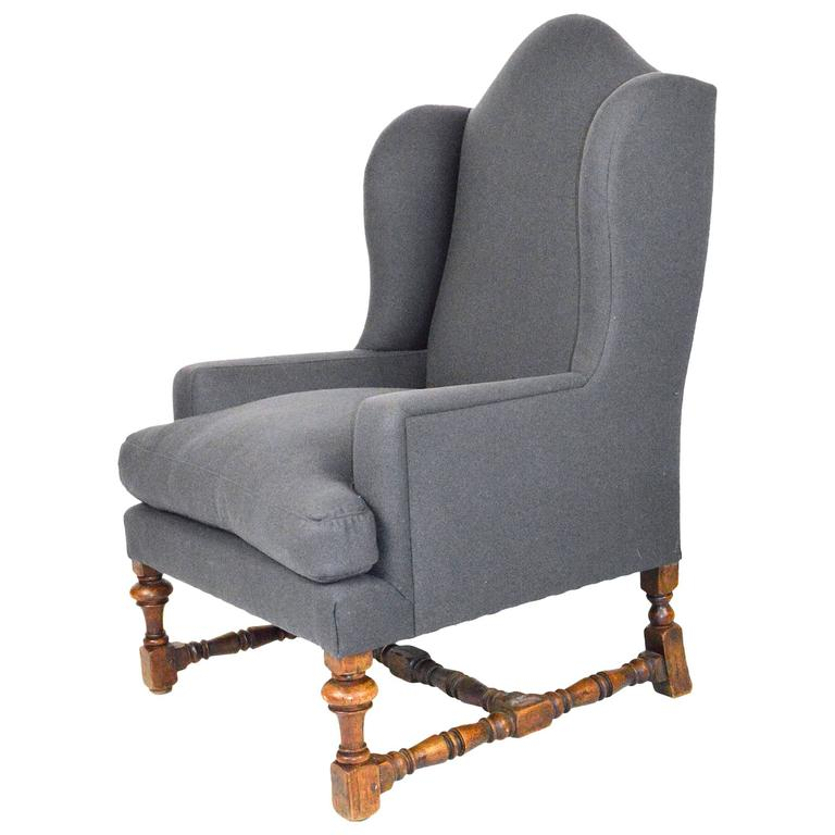 English Baroque Style Wingback Chair