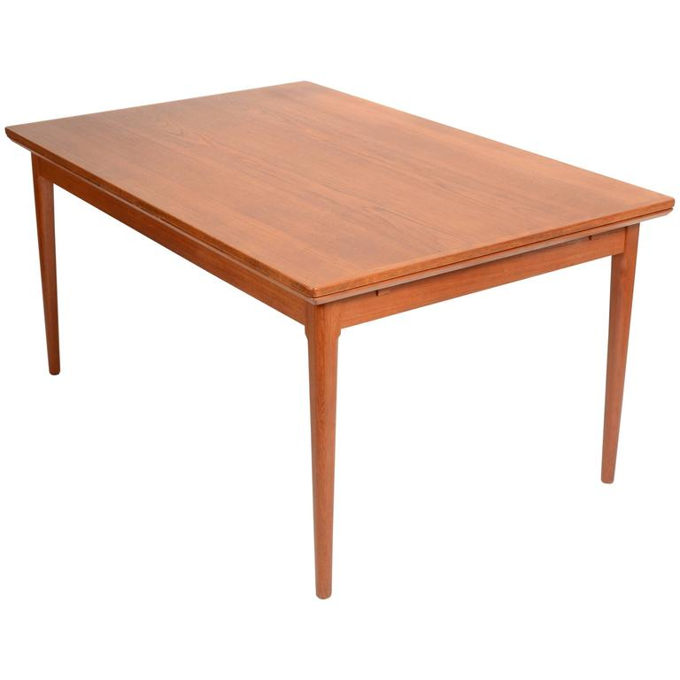 Large danish modern teak dining table by l f mobler for for Danish modern dining room table