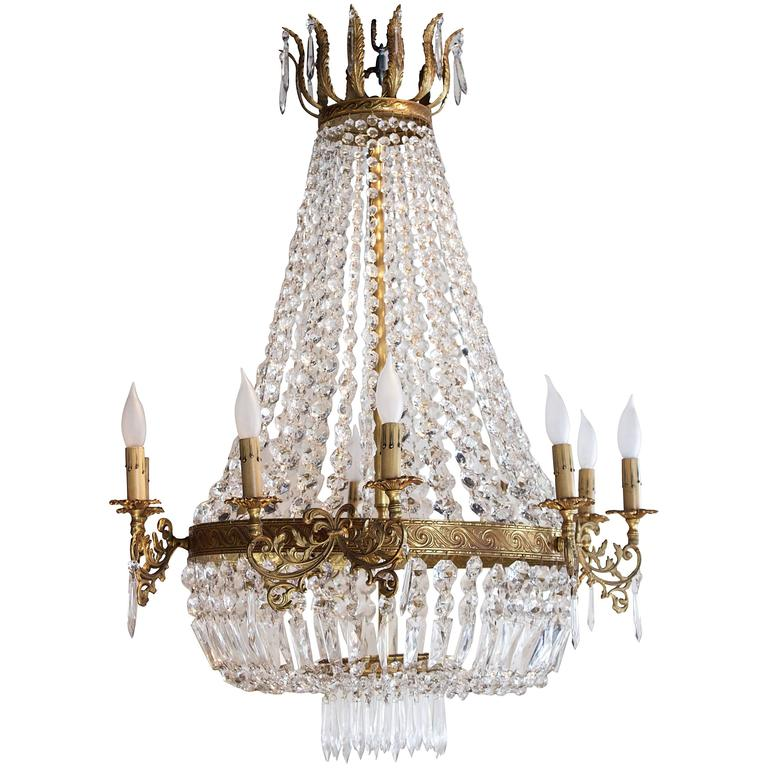 "Fifteen-Light French Empire Style ""Corbeille"" Chandelier For Sale"