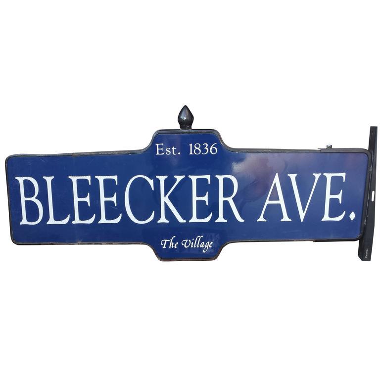 New York City Street Sign 1950s Bleecker Ave The Village