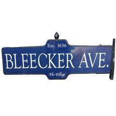 "New York Street Sign 1950s Bleecker Ave. Mamaroneck, N.Y. ""The Village"" Est. 183"