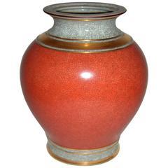 Large Mid-Century Royal Copenhagen Craquelé Vase