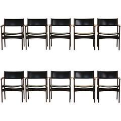 Rare Set of 10 Dining chairs by Hans Olsen for Frem-Rojle