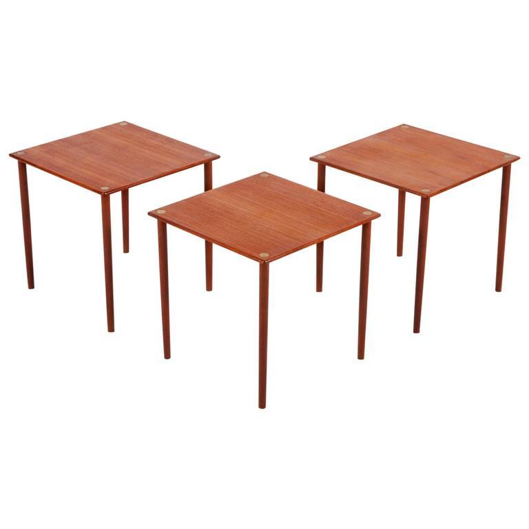 Set Of Three Teak Coffee Tables 1960 At 1stdibs
