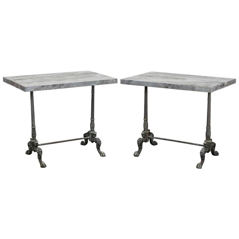 Pair of Cast Iron Side Tables with Faux Stone Tops