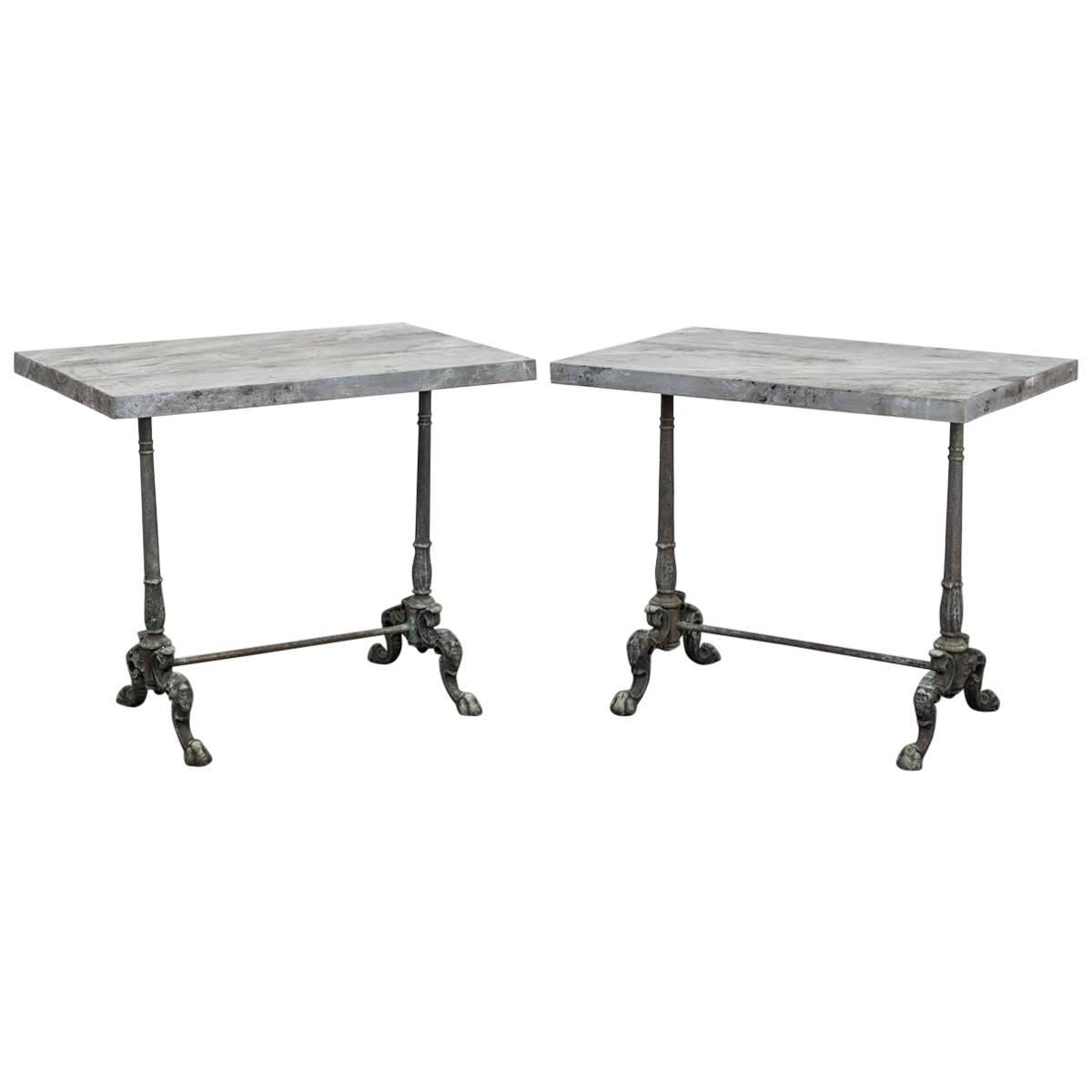 Pair of cast iron side tables with faux stone tops for for Cast iron end table